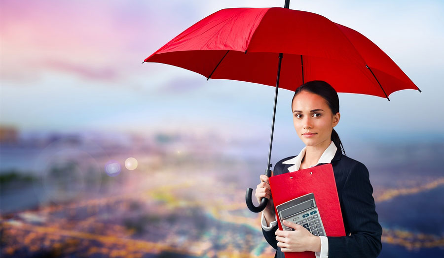 umbrella protecting business woman