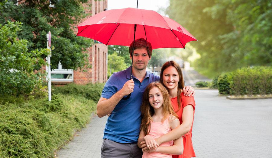 umbrella protecting family